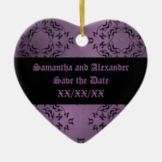 Gothic dirty purple damask casual Save the Date Ceramic Ornament