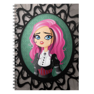 Gothic doll crying spiral notebook