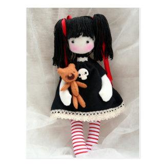 Gothic Doll with Teddy Bear Customizable Postcard