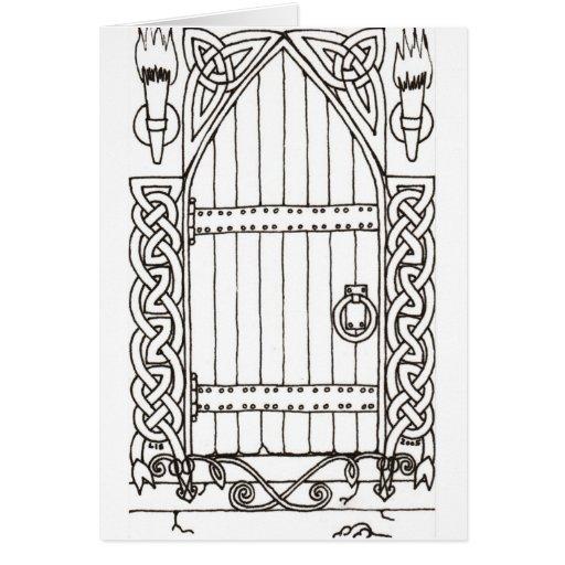 Gothic Door (black & white) card