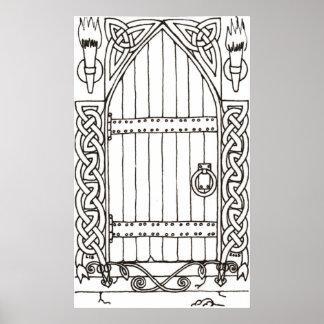 Gothic Door (black & white) print