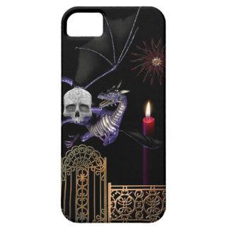 Gothic Dragon w Human Skull Gold Gate purple black iPhone SE/5/5s Case