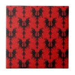 Gothic Dragons Pattern, black on red Ceramic Tile