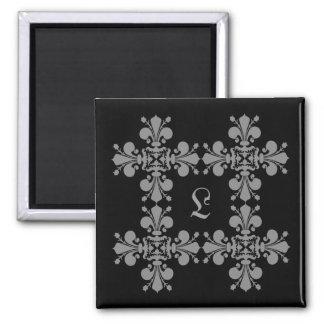 Gothic elegance fleur de lis damask monogram 2 inch square magnet