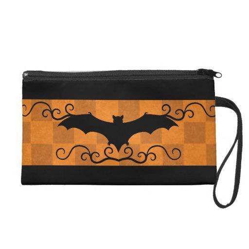 Gothic elegant bat with swirls Halloween Wristlet Clutch