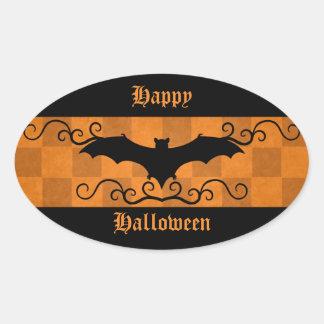 Gothic elegant bat with swirls Happy Halloween Oval Sticker