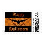 Gothic elegant bat with swirls Happy Halloween Stamp
