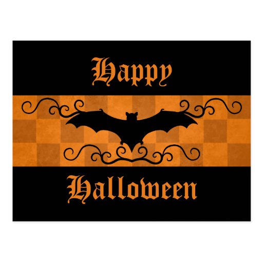 Gothic elegant bat with swirls Happy Halloween Post Card