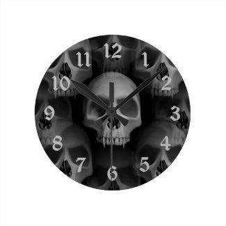 Gothic evil fanged skull Halloween horror Round Clocks