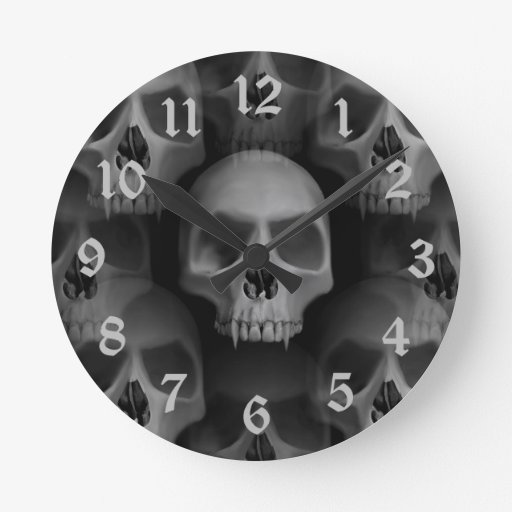 Gothic evil fanged skull Halloween horror Round Wallclock