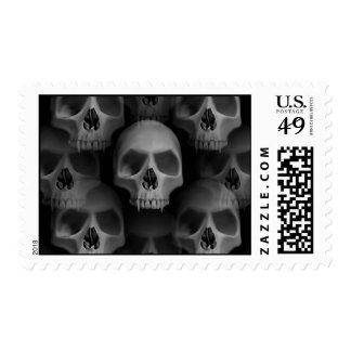 Gothic evil vampire fanged skulls Halloween horror Stamp