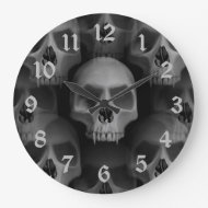 Gothic evil vampire fanged skulls round clocks