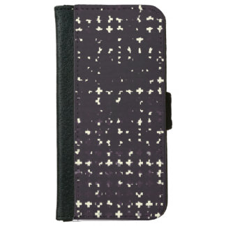 Gothic Faded Black Grunge Vintage Cross Pattern iPhone 6 Wallet Case