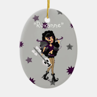 Gothic Faerie with Skull Guitar Double-Sided Oval Ceramic Christmas Ornament