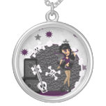 Gothic Faerie with Skull Guitar Round Pendant Necklace