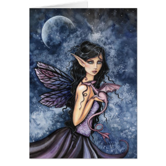 Gothic Fairy and Dragon Card by Molly Harrison