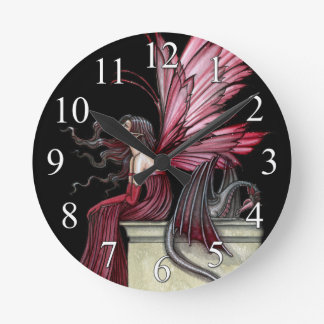 Gothic Fairy and Dragon Fantasy Art Clock
