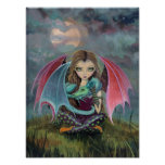 Gothic Fairy and Dragon Fantasy Art Poster