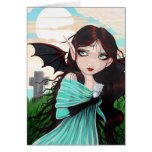 Gothic Fairy and Kitten Ghost Halloween Card