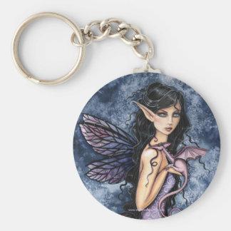 Gothic Fairy Dragon Art Keychain by Molly Harrison