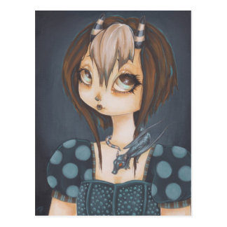Gothic fairy dragon in blue postcard