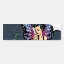 goth, gothic, fairy, fairies, wings, grave, tombstone, headstone, tears, brunette, al rio, thomas mason, r i p, art, Bumper Sticker with custom graphic design