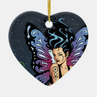Gothic Fairy Grave Sitting with Tears by Al Rio Ceramic Ornament