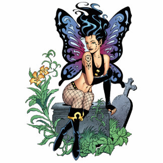Gothic Fairy Grave Sitting with Tears by Al Rio Cutout