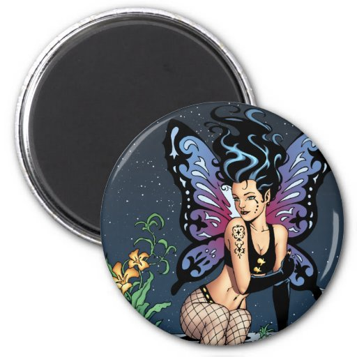 Gothic Fairy Grave Sitting with Tears by Al Rio Fridge Magnets