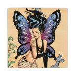 Gothic Fairy Grave Sitting with Tears by Al Rio Maple Wood Coaster