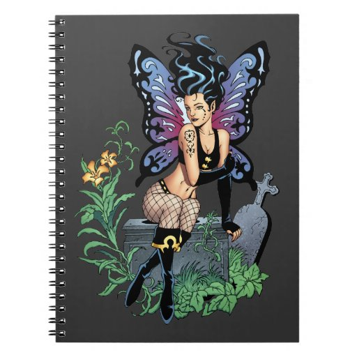 Gothic Fairy Grave Sitting with Tears by Al Rio Spiral Notebooks