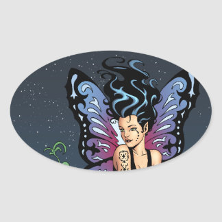 Gothic Fairy Grave Sitting with Tears by Al Rio Oval Sticker