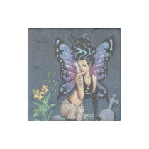 goth, gothic, fairy, fairies, wings, grave, tombstone, headstone, tears, brunette, al rio, [[missing key: type_giftstone_magne]] com design gráfico personalizado