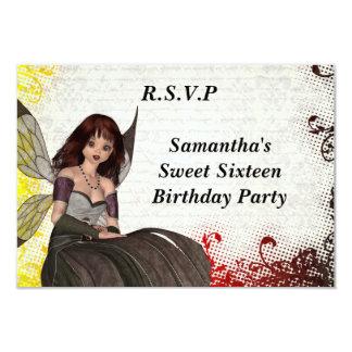 Gothic fairy sweet sixteen r.s.v.p. 3.5x5 paper invitation card