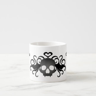 Gothic fanged skull black and gray espresso cup