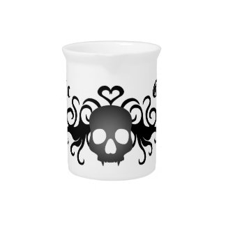 Gothic fanged skull black and gray drink pitchers
