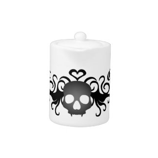 Gothic fanged skull black and gray teapot