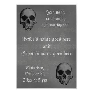 Gothic fanged skull Halloween horror theme wedding 5x7 Paper Invitation Card
