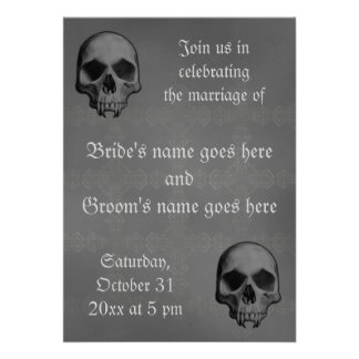 Gothic fanged skull Halloween horror theme wedding Personalized Invite