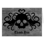 Gothic fanged vampire skull Thank You Stationery Note Card