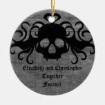 gothic fanged vampire skull, Together Forever Ceramic Ornament