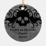 gothic fanged vampire skull, Together Forever Double-Sided Ceramic Round Christmas Ornament