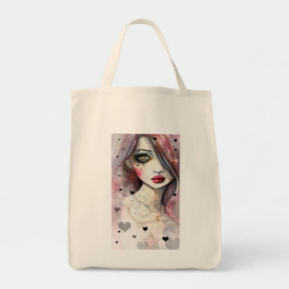 Gothic Fantasy Art Girl with Hearts Tote Bag