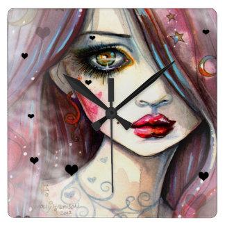 Gothic Fantasy Art Girl with Hearts Wallclock