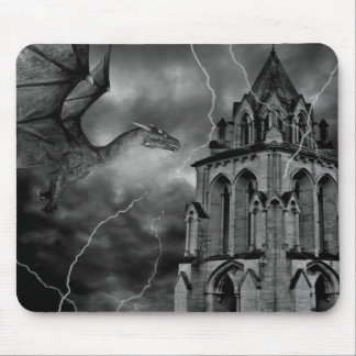 Gothic fantasy dragon in the storm mouse pad