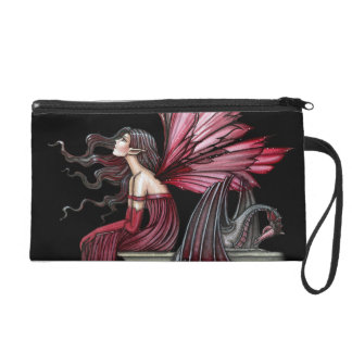 Gothic Fantasy Fairy Dragon Satin Wrist Purse