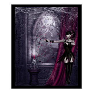 Gothic fantasy girl in spooky room poster