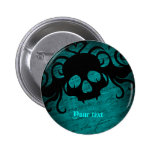 Gothic fantasy skull blue and black 2 inch round button