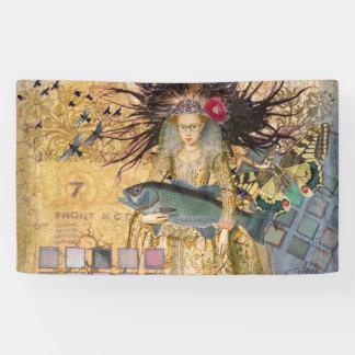 Gothic Fish Pisces Woman Renaissance Whimsical Banner