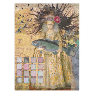 Gothic Fish Pisces Woman Renaissance Whimsical Tablecloth